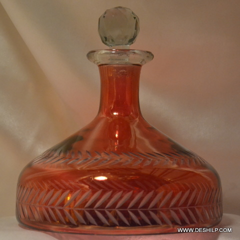Red Color Glass Perfume Decanter