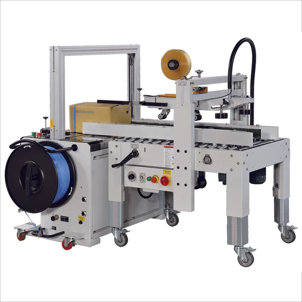 CARTON SEALER WITH AUTOMATIC STRAPPING MACHINE (COMBO)