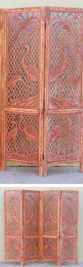 Cranes Carved Wooden Screen Room Divider