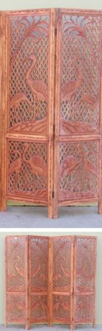Cranes Carved Wooden Screen Room Divider