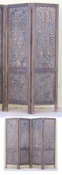Flower Carved Wooden Screen Room Divider