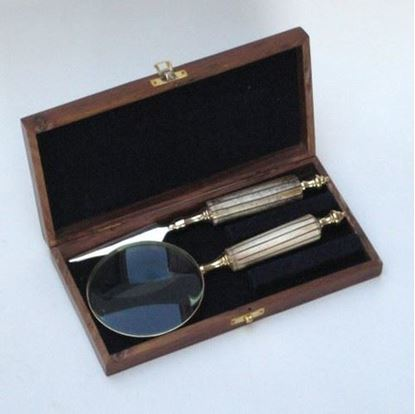 Letter reading Kit Magnifier and Opener in wooden
