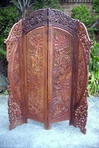 Carved Wooden Screen Flower 4 Panel