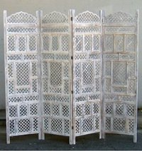 Carved Wooden Screen Room Divider Jali White
