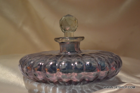 Purple Glass Perfume Bottle With Stopper
