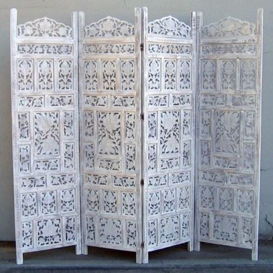Carved Wooden Screen Chinar Jali White Color