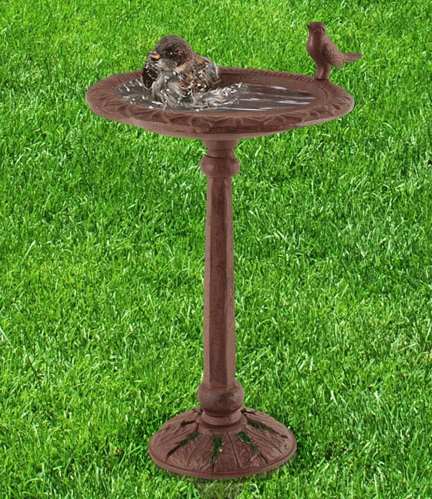 Brown Cast Iron Bird Bath For Garden