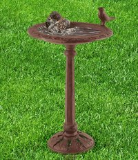 Brown Cast Iron Bird Bath For Garden