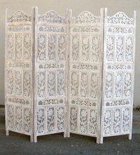 Carved Wooden Screen Room Divider Flower With Jali Design