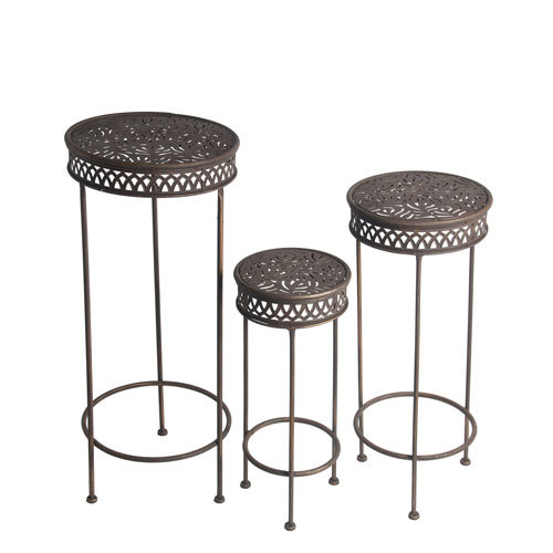 Privilege Dark Bronze Round Plant Stands Set of Three