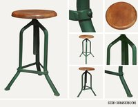 IRON WOODEN BAR STOOL