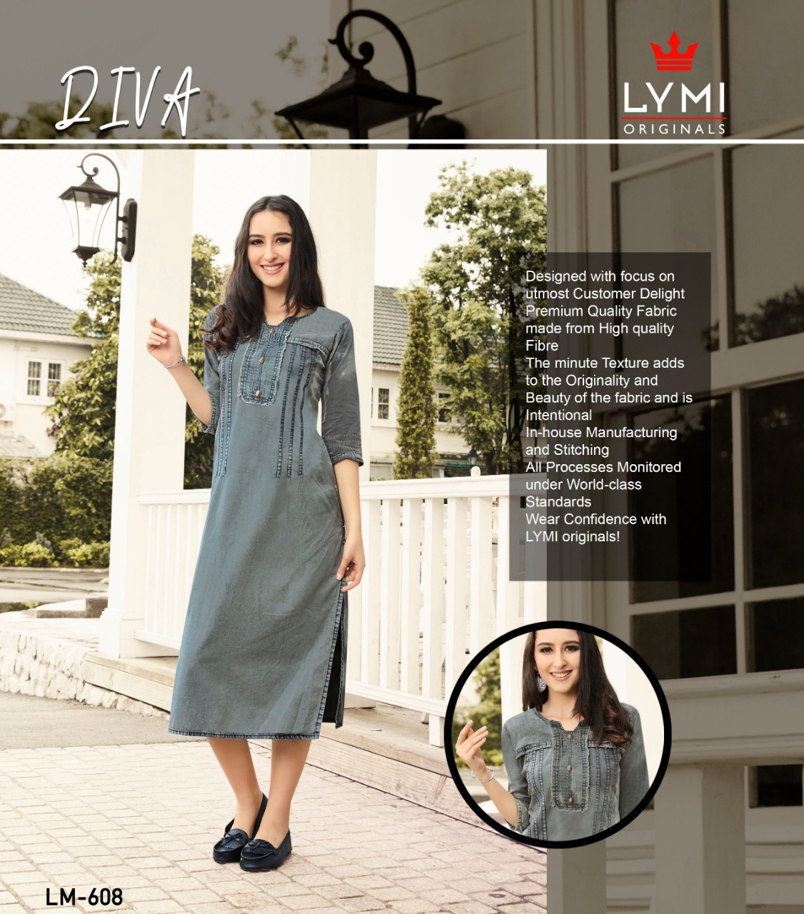 Denim embroidered kurtis