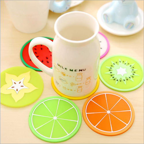 5 Piece Fruit Slice Silicone Coaster