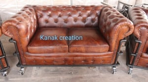 Two Seater Leather Sofa Darcy Chesterfield