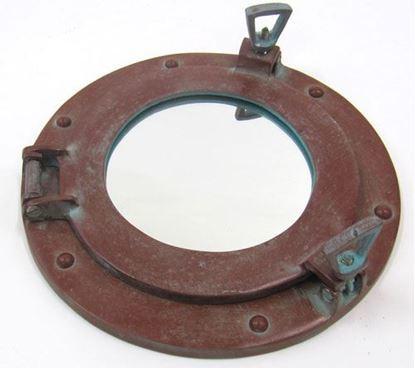 Antique Porthole Mirror Aluminum 9 Inch