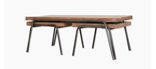 IRON WOODEN  TABLE SET OF 3