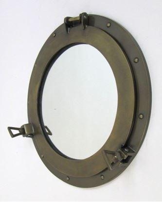Antique Aluminum Porthole Mirror 17 Inch