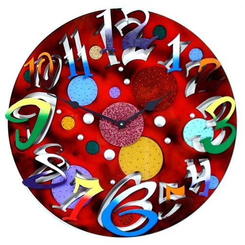Red and Multi color Wall Clock