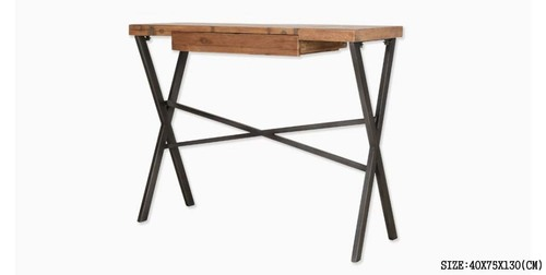 IRON DESK WITH WOODEN TOP