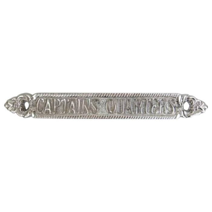 Chrome Plated Sign CAPTAINS QUARTERS 100 Aluminium Fihish