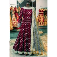Maroon Color Ladies Traditional Gown