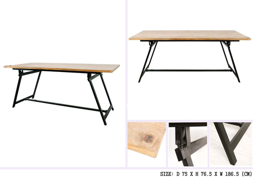 Iron Wooden Table With Folding Legs
