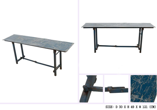 IRON TABLE WITH DISTRESSED TOP