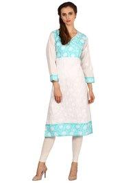 Saadgi Women's Cotton Chikankari Kurti