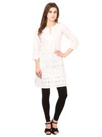 Saadgi Women's Cotton Chikankari Straight Kurti