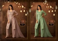 Net embroidered salwar kameez