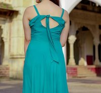 Western Style Halter Neck Rayon Long Dress