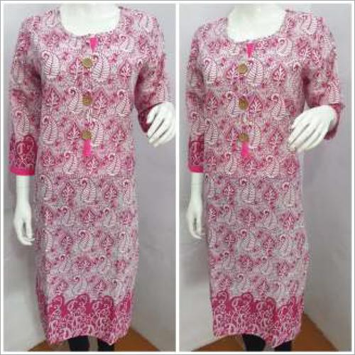 Ladies Printed Pink Kurtis