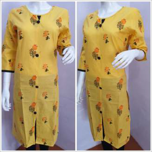 Ladies Designer Yellow Kurtis