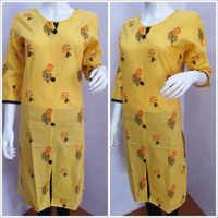 Ladies Designer Yellow Kurtis
