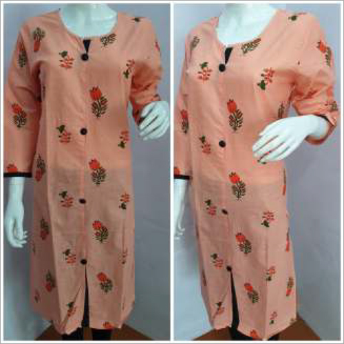 Ladies Peach Round Neck Printed Kurtis