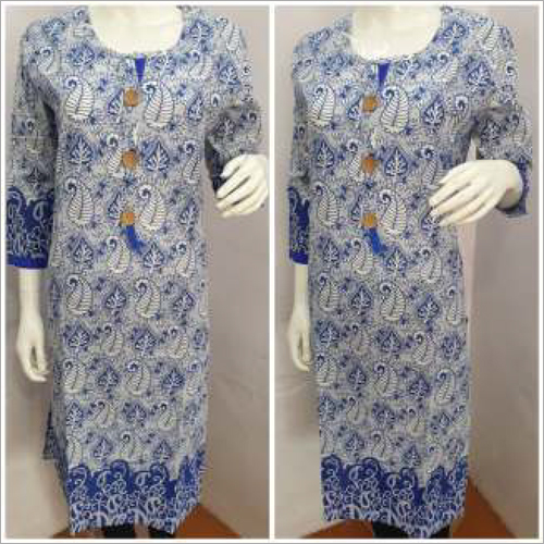 Ladies Blue Round Neck Kurtis