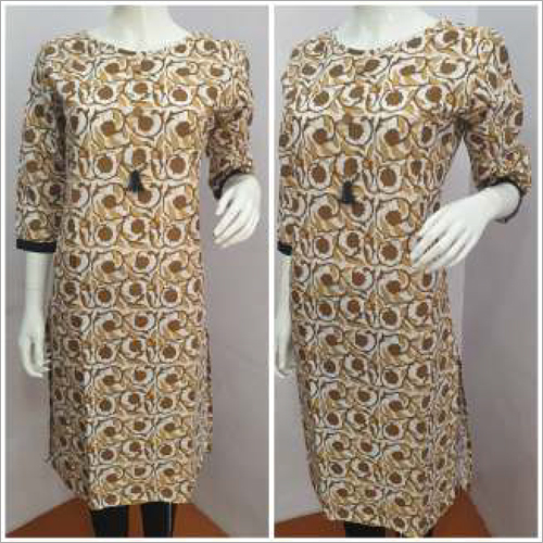 Ladies 3-4 Sleeves Round Neck Kurtis