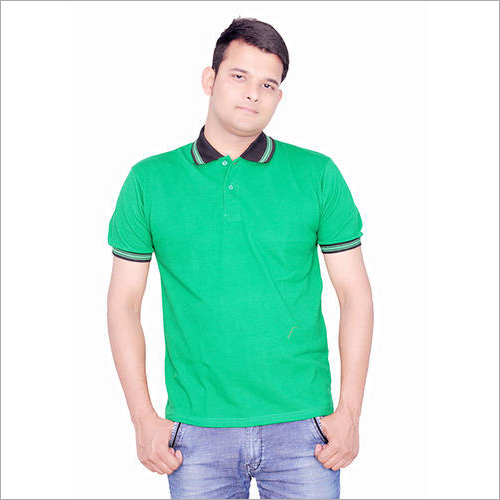 Mens Strip Collar Green T-Shirt