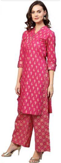 Gold Printed Branded Designer Kurti in Rayon - Summer Wear Kurti