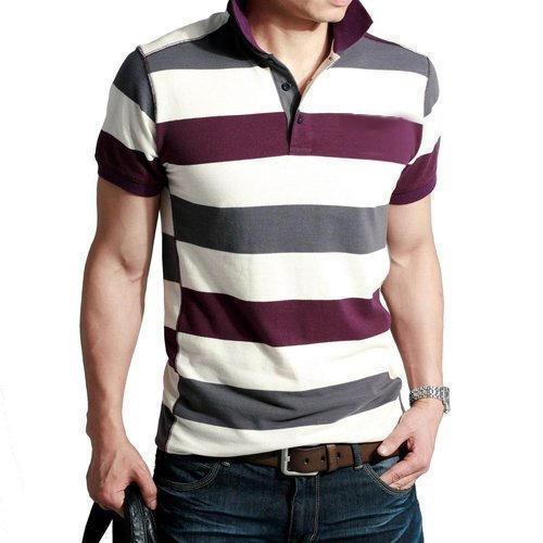 Mens Polo Neck Cotton Striped Half Sleeve T Shirt