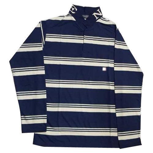 Mens Full Sleeve Striped Cotton T Shirt