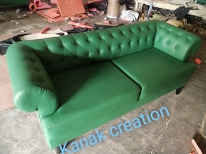 Synthetic green two seater classic sofa