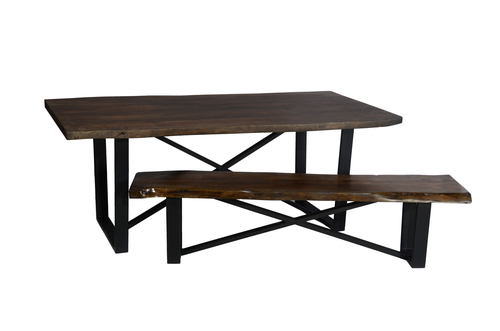 Industrial table with industrial bench set