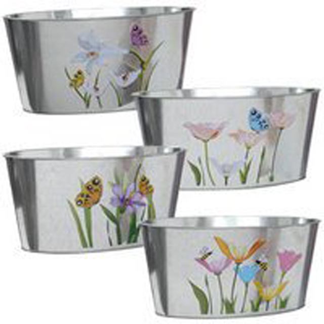 Iron Planter Set Galvanized
