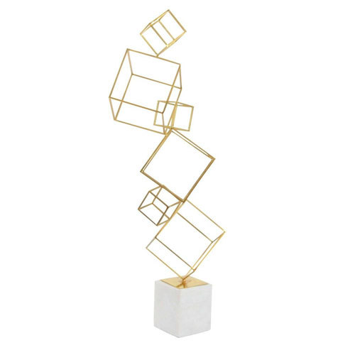 Iron Cube Sculpture with Marble Base