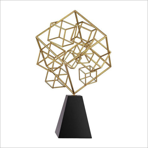 Decorative Iron Cube Sculpture with Marble Base