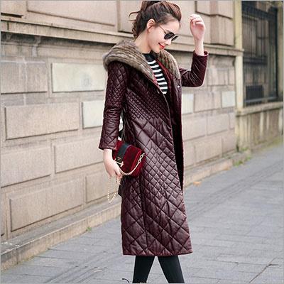 Ladies Leather Long Jacket