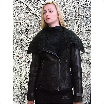 Ladies Designer Black Shearling Flying Jacket Age Group: All Age