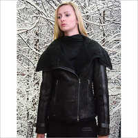 Ladies Designer Black Shearling Flying Jacket