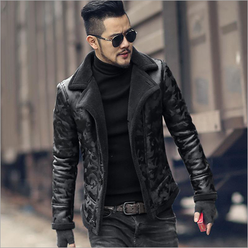 Mens Collar Leather Jacket